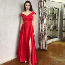 $enCountryForm.capitalKeyWord NZ - Elegant A-line Long Prom Dress Off The Shoulder Front Split Red Satin Robe De Soiree Women Formal Party Dress Full Length Prom Gowns