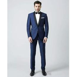 $enCountryForm.capitalKeyWord Australia - Brand New Navy Blue Men Wedding Tuxedos Black Shawl Lapel Groom Tuxedos Men Business Dinner Darty Suit(Jacket+Pants+BowTie) 61