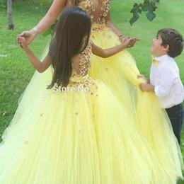 $enCountryForm.capitalKeyWord Australia - Ball Gown Yellow Flower Flower girls Dresses for Wedding 2019 Cute Floor Length Princess Gown Puff Tulle