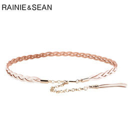 chained belt NZ - RAINIE SEAN Braided Belt Woman White Chain Belt Genuine Cow Leather Tassel Luxury Designer Brand Thin Elegant Ladies Dress Belts
