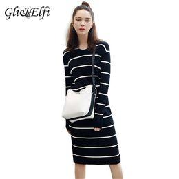 1e5797470b Autumn Winter Sweater Knitted Women Dress Korean Office Striped Midi Pencil  Vestido Bandage Plus Size Long Sleeve Bodycon Dress Y190425