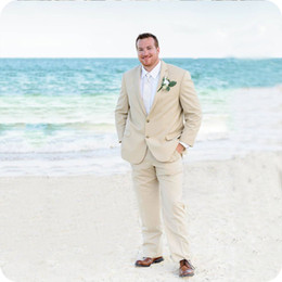 $enCountryForm.capitalKeyWord Australia - Summer Beach Beige Men Suits For Wedding Suits Notched Lapel Plus Size Custom Made Bridegroom Tuxedos Casual Groom Wear Best Man Blazer Prom