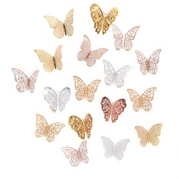 3d rose wall sticker Australia - Cheap Stickers 12Pcs Rose Gold Silver Hollow 3D Butterfly Wall Stickers For DIY Party Kids Wedding Room Decoration Home Wall Sticker