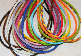 $enCountryForm.capitalKeyWord Australia - 100pieces lot 3mm 17-19inch Adjustable assorted Color Faux Braided leather necklace cord jewelry
