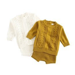 c40cd7e40ba9 Baby Knit Suit UK - Winter Baby Girl Clothes Set Knitted Boys Set Sweaters+ shorts