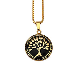 $enCountryForm.capitalKeyWord NZ - New Fashion Mens Charm Necklace Round Tree of Life Pendant 18k Gold Plate Stainless Steel 60cm Long Chain Design Hip Hop Jewelry Men
