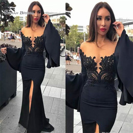 $enCountryForm.capitalKeyWord Australia - Black Mermaid Evening Gown Prom Dresses Long Sleeve Satin Applique High Split Deep V-Neck Sweep Formal Dress Party Wear