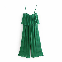 pleated chiffon belt 2019 - Popular new spring summer 2019 women's clothing The European and American wind snow spins condole belt jumpsuits pl