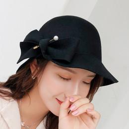 100% Perlas de Lana Sombrero de Fieltro Mujeres negro Pastillero Sombreros  Negro Señoras Vintage Cóctel Moda Derby Fedora Chapeau Femme D19011102 317e73bd41d