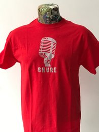 Wholesale NEW SHURE MICROPHONE RED T SHIRT ROCKABILLY HILLBILLY s s FREEPOSTFunny Unisex Casual Tshirt top
