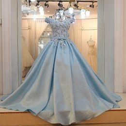 $enCountryForm.capitalKeyWord Australia - Pretty Baby Blue 3D Flower Long Prom Dresses Elegant Empire Sash Off Shoulder Lace Up Prom Gowns Formal Dress 2019 Abendkleider