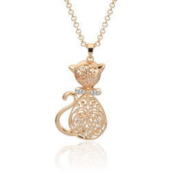 $enCountryForm.capitalKeyWord NZ - (238P) Sweater Necklace Lovely Cat Pendant Crystals For Women Long 60cm Chain Fashion Jewelry 18K Gold Plated