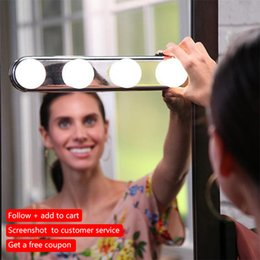$enCountryForm.capitalKeyWord NZ - Studio Glow 4 LED Bulbs Make Up Light Super Bright Portable Cosmetic Mirror Light Kit Battery Powered Makeup Light wall lamps