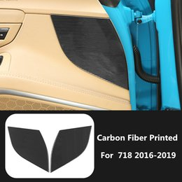 $enCountryForm.capitalKeyWord Australia - Carbon Fiber Printed Car Interior Door Panel Triangle Moulding Trim for Porsche 718 2016 2017 2018 2019 Styling Accessories