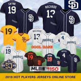 7c6ffb2a0 19 Tony Gwynn 13 Manny Machado San Diego 50th Anniversary Padres Baseball Jerseys  4 Wil Meyers Navy Blue White Cool Base 100% Stitched