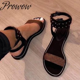 Brands Sandals Australia - Prowow New Brand Designer Quality Genuine Leather Metal Studded Summer Sandas Open TOe Buckle Strap Flats Sandals Shoes Women