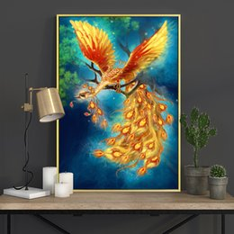 Phoenix Paintings Australia - Meian Cross Stitch Embroidery Kits 14CT Phoenix Animal Cotton Thread Painting DIY Needlework DMC New Year Home Decor VS-0011