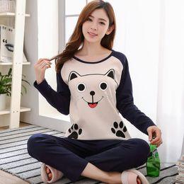 Cute loose girl shirts online shopping - Women Cute Cartoon Animal Printed Sleepwear Set Long Sleeve Girls Pajamas Set Soft Loose Home ClothesK