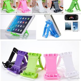 Pink Color Mobiles NZ - Wholesale Cell Phone Holder Stand Bracket Mini Plastic Non-slip Candy Color Folding Lazy Support Mobile Phone Mounts Universal Bracket