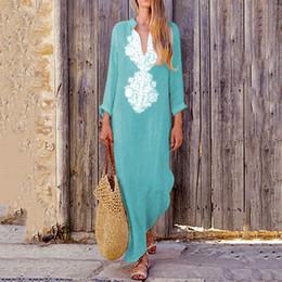 7be0e11c48 Easehut Women Vintage Long Dress Cotton Linen V Neck Long Sleeves Bohemian Dress  Casual Maxi Dress Plus Size Robes Femme 2019 C19041001