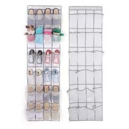 hanged pockets 2020 - 1.6m 24 Pockets Large Mesh Hanging Storage Bag Behind Doors Shoes Rack Storage Household Accessories cheap hanged pocket