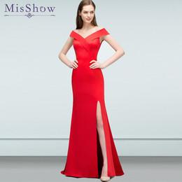 0806a963ed62f prom dresses long vestidos de fiesta largos elegantes de gala Sleeveless  Red Satin Mermaid Formal Evening Dress Party Gown