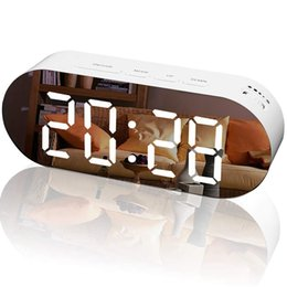 $enCountryForm.capitalKeyWord Australia - Alarm Clock Digital Mirror Surface Dimmer Large Led Display With Dual Usb Charger Ports Snooze Sleep Timer For Bedroom Decor