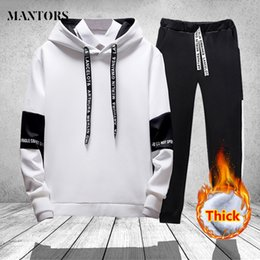 237056e3 Winter Casual Tracksuit Men Hoodies Set with Pant Two Pieces Printed Thick  Hooded Hoodies Jacket + Pants Track Suit Mens Clothes