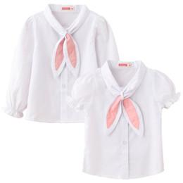 $enCountryForm.capitalKeyWord Australia - White Little Girls Shirts Blouses Clothes Classic Shirt For Girl Scarf Bow Tie Lantern Sleeve Tee Shirts Cotton Jumper Student Uniform
