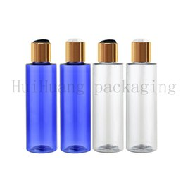 shampoo bottle gold Australia - 50pcs lot 100ml blue clear plastic toner bottles with gold screw caps,empty amber essential oils cosmetic packaging shampoo