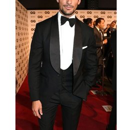$enCountryForm.capitalKeyWord Australia - Charcoal 3 Pieces Party Suit Shawl Lapel Mens Suits for Wedding Groom Suits Slim Fit Men Wedding Tuxedo Suit