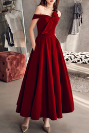 red robe soiree Australia - Wine Red Flat Velvet Dinner Dress Sexy Off The Shoulder Formal Evening Gown robe de soiree