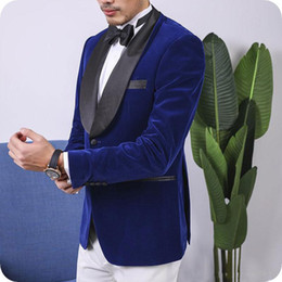 Wholesale black royal blue wedding tuxedos resale online - Costume Homme Royal Blue Velvet Groom Tuxedo Men Wedding Suits Black Shawl Lapel Smoking Man Blazer Jacket Pants Piece Slim Terno Masculino