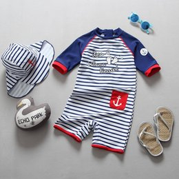 seamless boy shorts 2019 - Kids stripe swimming kids letter arrow pocket swimsuits children round collar short sleeve swimwear boys beach rash guar