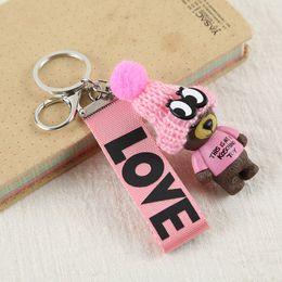 Cute bear for Car online shopping - 2019 Teddy Bear Key Chains Women Cute Bear Love Ribbon Keychain Key Rings Fashion Bag Car Charms Jewelry For Valentines Day Gift