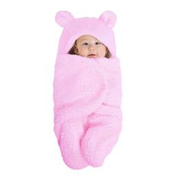 Pink Infant Bedding Australia - Newly Baby Blanket Coral Fleece Infant Swaddle Envelope Stroller Wrap For Newborn Baby Bedding Blankets 0-6M