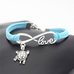 $enCountryForm.capitalKeyWord Australia - High quality fashion Infinity Love Tortoise Sea Turtle Animal bracelets charm blue rope leather friendship bangles for men and women jewelry