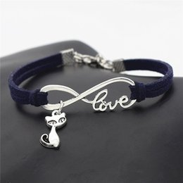 indian mens leather bracelets Australia - New Ethnic Silver Color Infinity Love Cat Puss Pendant Statement Bracelets for Womens Mens Boho Navy Leather Suede Velvet Rope Party Jewelry