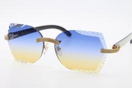 $enCountryForm.capitalKeyWord Australia - Free Shipping Big Stones Glasses 3524012 Rimless White Inside Black Buffalo Horn Sunglasses Unisex cat eye designer Glasses Carved Lens New