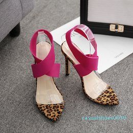 leopard pumps Canada - 2019 Sexy pink leopard patchwork cross strap high heel pumps designer shoes size 35 to 40 30c