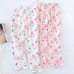 2019 Plus Size Loose Cotton Gauze Sleep Wear for Women Length Long Pajama  Bottom Floral Lounge Shorts Elastic Waist Pijama Pants a37d0d71b