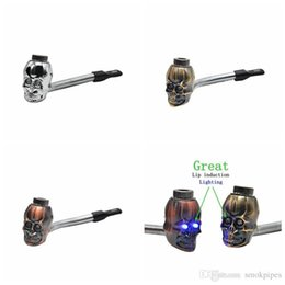 $enCountryForm.capitalKeyWord Australia - New Mini Herb Skull Head Shape Filter Smoking Pipe Bent Lip Induction Electronic lighting Great High Quality Innovative Design Hot Cake