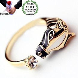 horse wedding gifts NZ - OMHXZJ Wholesale European Fashion Woman Man Party Wedding Gift Horse Open Zircon 18KT White Gold Yellow Gold Ring RR506