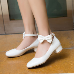 $enCountryForm.capitalKeyWord Australia - YMECHIC Summer 2019 Block Chunky Women Heels White Pink Cute Sweet Bow Lolita Shoes Medium Low Heel Pumps Ankle Strap Wedding