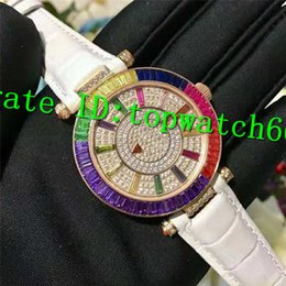 Ladies Gems Australia - Top Luxury lady Watch 2836 Automatic Movement Sapphire Crystal Stainless Steel Case on Diamond Dial White Leather Strap Women Watch