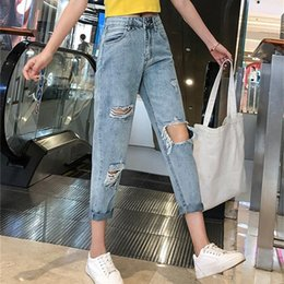 c8e3b482 Joker Jeans online shopping - BGSOLID Spring and summer thin perforated  jeans women loose Joker students
