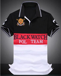 polo big horse UK - Men Casual Polo Shirts Black Watch Cotton Men's Classic Polos Big Horse Embroidery Number 2 Tops Tees Tennis Striped T-Shirt White Black