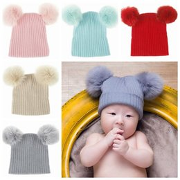 $enCountryForm.capitalKeyWord NZ - 2019 kids winter hat baby hats caps wool knitted hospital hats newborn beanies infant real fur pom poms hats crochet baby bonnets wholesale