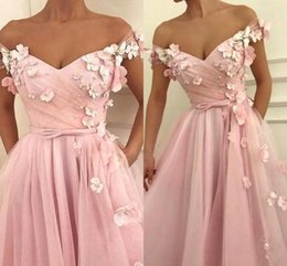 $enCountryForm.capitalKeyWord Australia - 2019 Blush Pink A-Line Prom Dresses Off Shoulder Pearls Hand Made Flowers Floor Length Ruffles Plus Size Custom Backless Party Evening Gowns