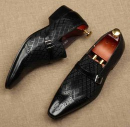 Leather tuxedo online shopping - Man Fashion Dress Autumn Wedding Real Leather Italy Derby Oxfords Shoes Male Design Buckles Tuxedo Formal Suits Oxfords